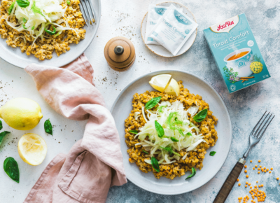 Warm lentil salad with quick-marinated fennel flavoured with our Throat Comfort blend!