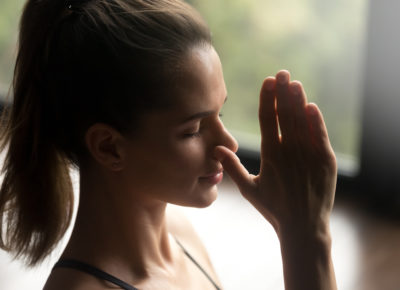 a woman during the yoga exercise for mental clarity